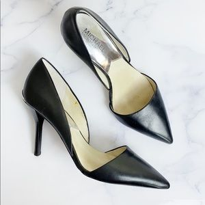 Michael Kors Black Leather Pointed Toe Heels 🌿